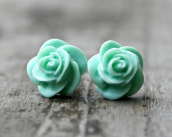 Mint Rose Earrings, Hypoallergenic Titanium Posts with Handmade Mint Green Resin Roses