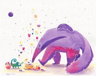 Anteater Print, Cute Anteater Art - 8x10 wall art for kids - Watercolor Anteater, Kids Wall Art, Kids Wall Art, Giant Anteater