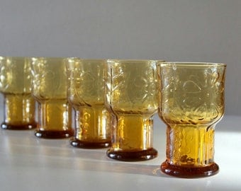 Vintage Amber Glass Tumblers,Dasiy, Country Garden
