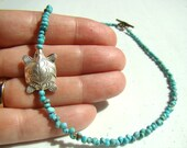 Turquoise Stone Nugget Beaded Choker Necklace // Hill Tribe Tibetan Silver Focal // Beaded stone necklace // No 8 Mine Nevada - BJ0057