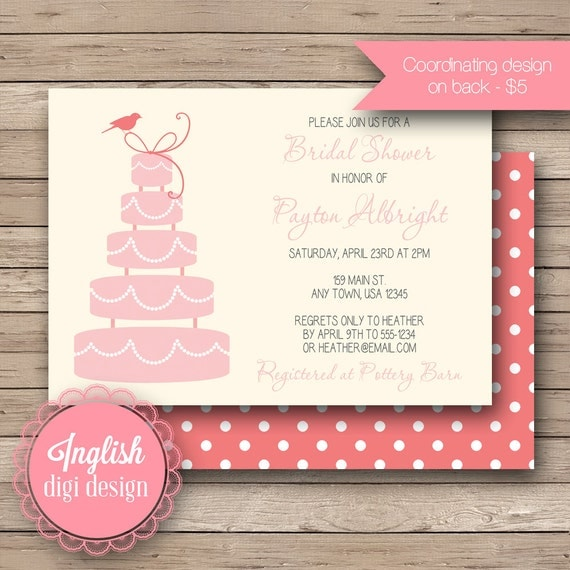 Wedding Cake Bridal Shower Invitation, Printable Bridal Shower Invitation Cake Shower Invite - Modern Wedding Cake in Coral, Pink