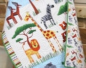 Gender Neutral Quilt, Baby Blanket, Nursery Crib Bedding, Cot Quilt, Safari Adventure, Lions Elephants Tigers Zebra Hippo Yellow Green Brown
