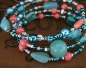 Custom Listing for Sharon Coral and Mint Turquoise Beaded Memory Wire Bracelet