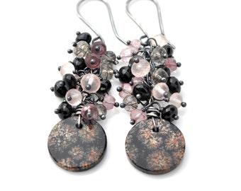 Black Rose Quartz Earrings, Snowflake Obsidian, Black Spinel & Rose Quartz Earrings, Long Cluster Earrings