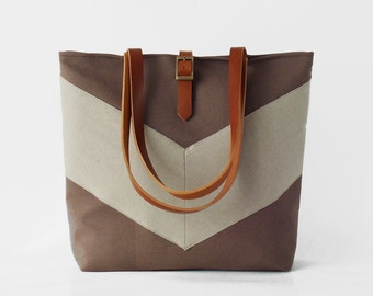 Linen chevron, Choco Brown tote / diaper bag / shoulder bag /  travel bag.  9 inside pockets. Waterproof poly lining available