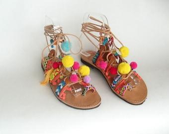 Pompom Sandals/Boho sandals