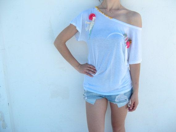 Boho top ,yoga tank, white boho fashion top, CRAZY SALE! OOAK Boho blouse, boho top, top boheme blanc  style bohème chic