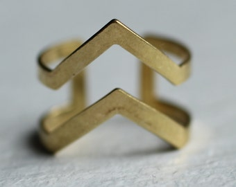 Geometric Mountain Ring ... Vintage Midi Stacking Ring Gold Brass Adjustable Triangle