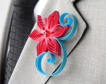 Red and Blue Wedding Boutonniere, Red Boutonniere, Aqua Boutonniere, Red Wedding, Malibu Wedding