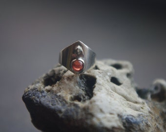 Dragon's Claw - silver ring with natural garnet for SD sized BJDs