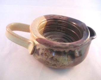 Shaving Scuttle For Comfort Hot Wet Shave - Handmade Pottery Glazed Rust Red, Brown, Black, Tenmoku, Speckled Cream
