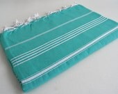 Shipping with FedEx - Classic - Picnic blanket, Sofa throw, Beach blanket, Tablecloth, Bedcover - Bathstyle - Turquoise