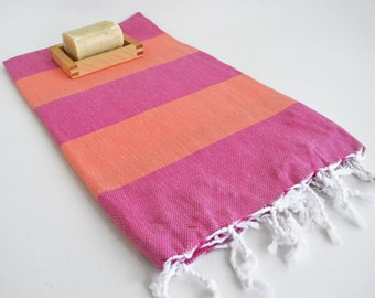 SALE 50 OFF/ Turkish Beach Bath Towel / Classic Peshtemal / Pink Coral / Wedding Gift, Spa, Swim, Pool Towels and Pareo