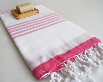 SALE 50 OFF/ Turkish Beach Bath Towel / Classic Peshtemal / White Pink / Wedding Gift, Spa, Swim, Pool Towels and Pareo