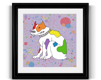 Rainbow Bulldog LGBT Pride Mini Art Print, Queer, Gay, and Lesbian Art, Dog Art, 5x5 Square Art