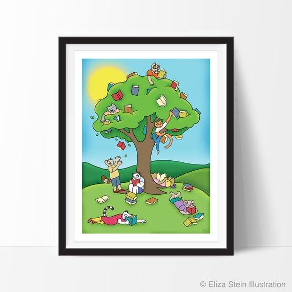 Summer Reading 9x12 Art Print, Fall Autumn Childrens Wall Art, Book, Whimsical Animal Art for Kids, Gift for Teacher, Classroom, Library