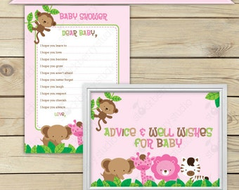 Girl Safari Jungle Baby Shower Wishes for Baby Card Printable - Pink Advice Cards - Instant Download - Safari Well Wishes For Baby Girl