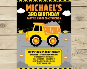Dump Truck Birthday Invitation Printable - Dump Truck First Birthday Invites - Construction Birthday Party - Dump Truck 1st Birthday Invite