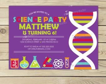 science birthday invitation printable science party invitation science invitation scientist invite kids - Science Party Invitations