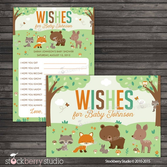 Woodland Baby Shower Wishes For Baby Card Printable Well