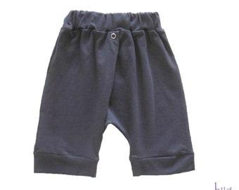 Boy Harem Shorts- Drop Crotch Summer Shorts- Grey Pants for Baby 3M-2Y