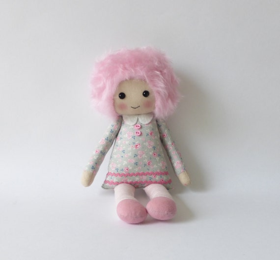 Cloth Doll In Pink Dress Pink Hair Rag Doll Nursery Decor