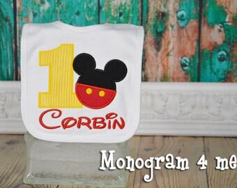 Mickey Mouse 1st Birthday Bib, Mouse birthday bib