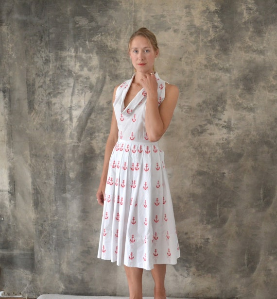 1950s Claire McCardell Red Anchor Dress size M