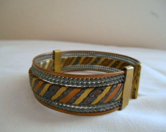 vintage mixed metal Cuff Bracelet