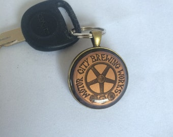 Motorcity brewing keychain, upcycled, ghettoblaster, detroit, michigan beer