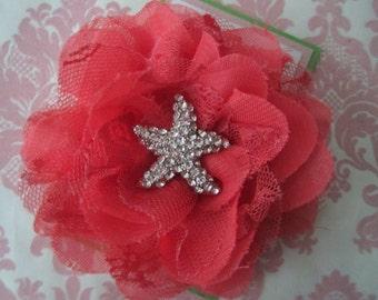 Girl hair clips - flower hair clips - star fish hair clips