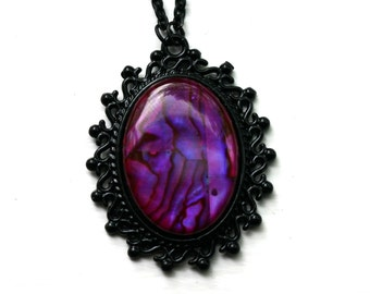 Purple Paua Shell Cameo Necklace