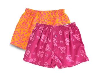 Girls Pajama Short Set, Colorful Pajama Gift Set, Girls Rose Pink Pajamas, Rose Girls Shorts, Cotton Batik