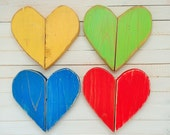 Set of 4 distressed wooden hearts/ heart wall hanging/ Love sign/ pallet art/ love heart