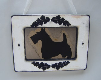 Scottie Dog Antiqued Mirror Vintage Style Home Wall Decor Pet Art Shabby Chic Black White French Country Cottage Sale