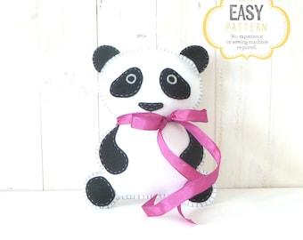 Panda Bear Stuffed Animal Sewing Pattern, Felt Panda Hand Sewing Pattern, Panda Bear Stuffie, Panda Softie