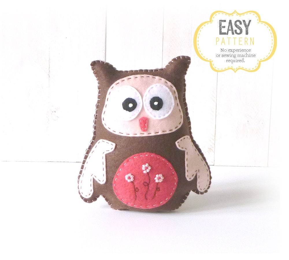 Owl Sewing Pattern Owl Stuffed Animal Hand Sewing Pattern