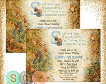 Boy Baby Shower Invitation - Baby Boy Blue Peter Rabbit Vintage DIY Printable Invite PDF Beatrix Potter (Item #3)