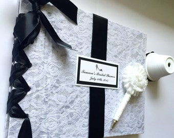 Lace Bridal Shower Guest Book, Black + White Wedding Guestbook, Vintage Lace Guestbook and Pen (Custom Ribbon Colors Available)