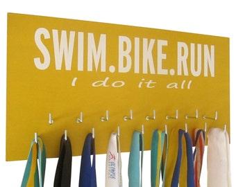 Triathlon medal holder - triathlon - triathlon art - Triathlon gifts - Ironman triathlon - Swim.bike.run I do it all
