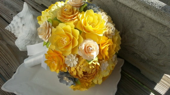 Handmade Paper Bouquet - Paper Flower Bouquet - Wedding Bouquet - Shades of Yellow with Hints of Gray - Custom Made - Any Color