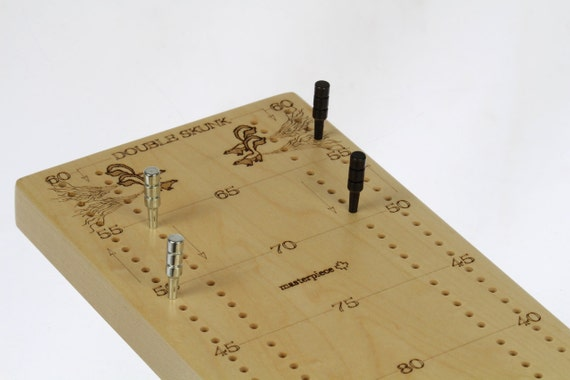 "Jumbo Tournament Cribbage Board, 20-3/8""L x 5""W x 3/4""H, Premium Quality, 2 Player, Laser Engraved, Wooden Games, Solid Maple, Paul Szewc"