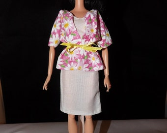 White sheath dress and pink Daisy print jacket for Fashion Dolls - ed762