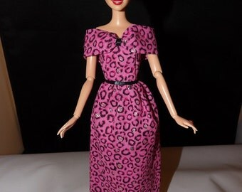 Pink, gold & black Leopard animal print long dress for Fashion Dolls - ed752