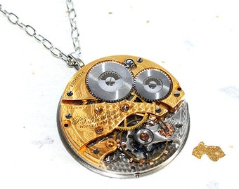 Steampunk Necklace - EXCEPTIONALLY RARE 97 Years Old Waltham Gold Gilt Antique Pocket Watch Movement Men Steampunk Necklace Men Wedding Gift