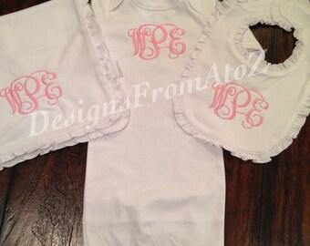 Monogrammed Baby Girl Gift Set