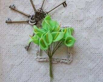 Calla Lilies, Scrapbook Embellishment, Flowers, Green, Mini Album, Mixed Media, 12 count