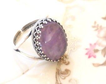amethyst stone ring boho ring purple ring silver plated ring stone ring gemstone ring amethyst ring boho ring boho jewelry