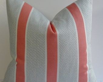 Tilton Fenwick coral jade stripe Designer pillow cover, Decorative Duralee accent throw pillow