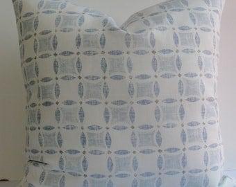 KRAVET Decorative pillow-Sarah Richardson Designer-Yorkville linen- Throw pillow-washed soft chambray-trellis-lattice-blue-taupe euro sham